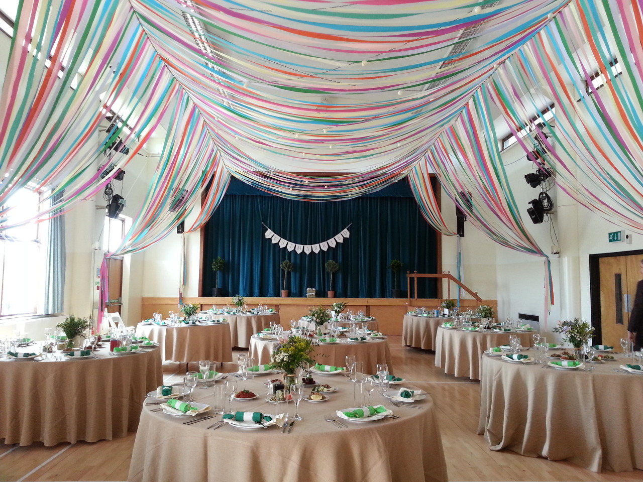 colourful-ribbon-canopy-wedding -reception-town-village-hall-celebration-beautiful-oculux-lighting-guests2 & Colourful Ribbon Canopy Wedding - Oculux | Immersive Light