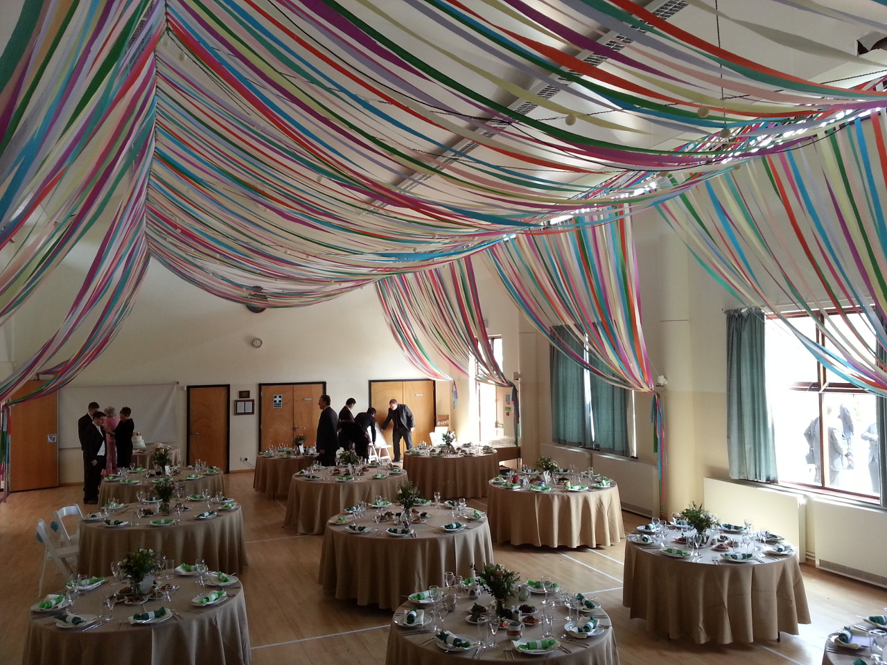 Colourful ribbon canopy wedding reception town village hall colourful ribbon canopy wedding reception town village hall junglespirit Gallery